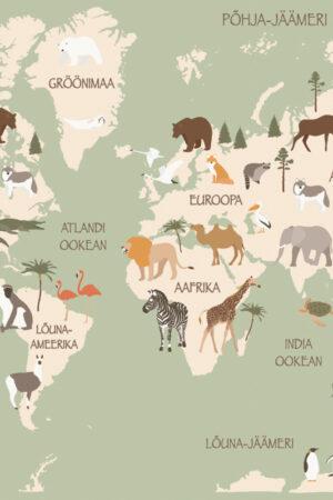Aafrika loomad roheline kaart