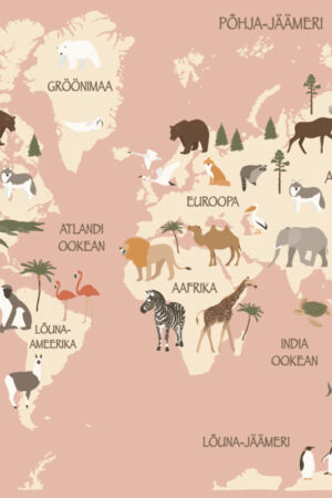 Aafrika loomad roosa kaart