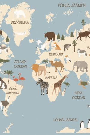 Aafrika loomad sinine kaart