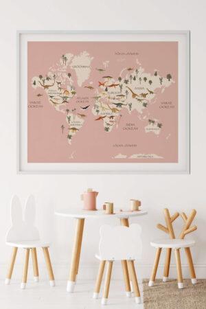 Dinosaurustega kaart roosa