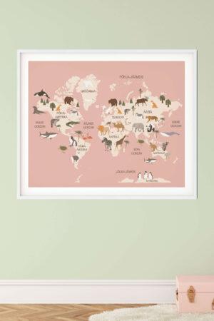 Aafrika loomadega poster roosa